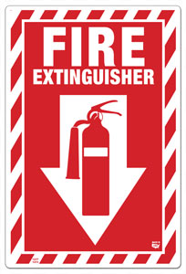 8 x 12 Flat 1 Sided Fire Extinguisher Sign with Arrow and Extinguisher Decal. Fire Red on White Background. Each Corner is Rounded and has a hole for mounting.