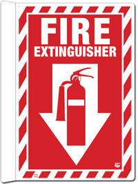 8 x 12 - 2 Sided 90 Degree Protrusion Fire Extinguisher Sign with Arrow and Decal. Fire Red on White Background. Each Corner is Rounded and there areTwo Key-hole shaped Holes for Mounting to the Wall.