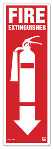4 X 12 Flat 1 Sided Fire Extinguisher Sign with Arrow and Extinguisher Decal. Fire Red on White Background; Each Corner is Rounded and has a Hole for Mounting