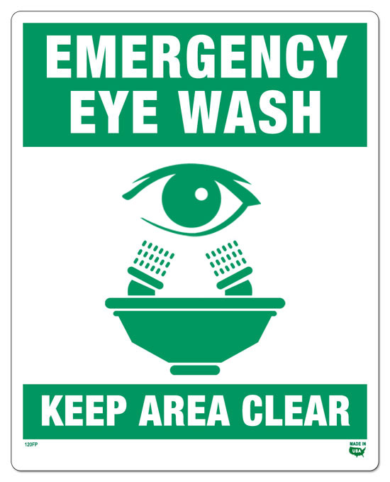 10 x 8 flat 1 sided eye wash sign safety green on white background - Eye Wash Station Osha