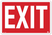 12 X 8 Flat 1 Sided Exit Sign. Fire Red on a White Background; Each Corner is Rounded With a Hole for Mounting