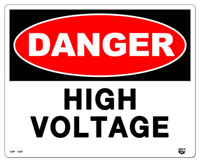 10 X 8 Flat 2 Color Danger (HIGH VOLTAGE) Sign. Fire Red and Black on White Background. Each Corner is Rounded and has a Hole for Mounting.
