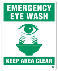 10 X 8 Flat 1 Sided Eye Wash Sign. Safety green on White Background. Each Corner is Rounded and has a Hole for Mounting.