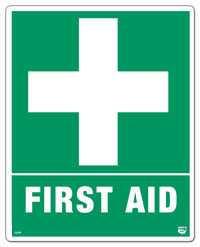 10 X 8 Flat 1 Sided  First Aid Sign. Safety Green on a White Background. Each Corner is Rounded and has a Hole for Mounting.